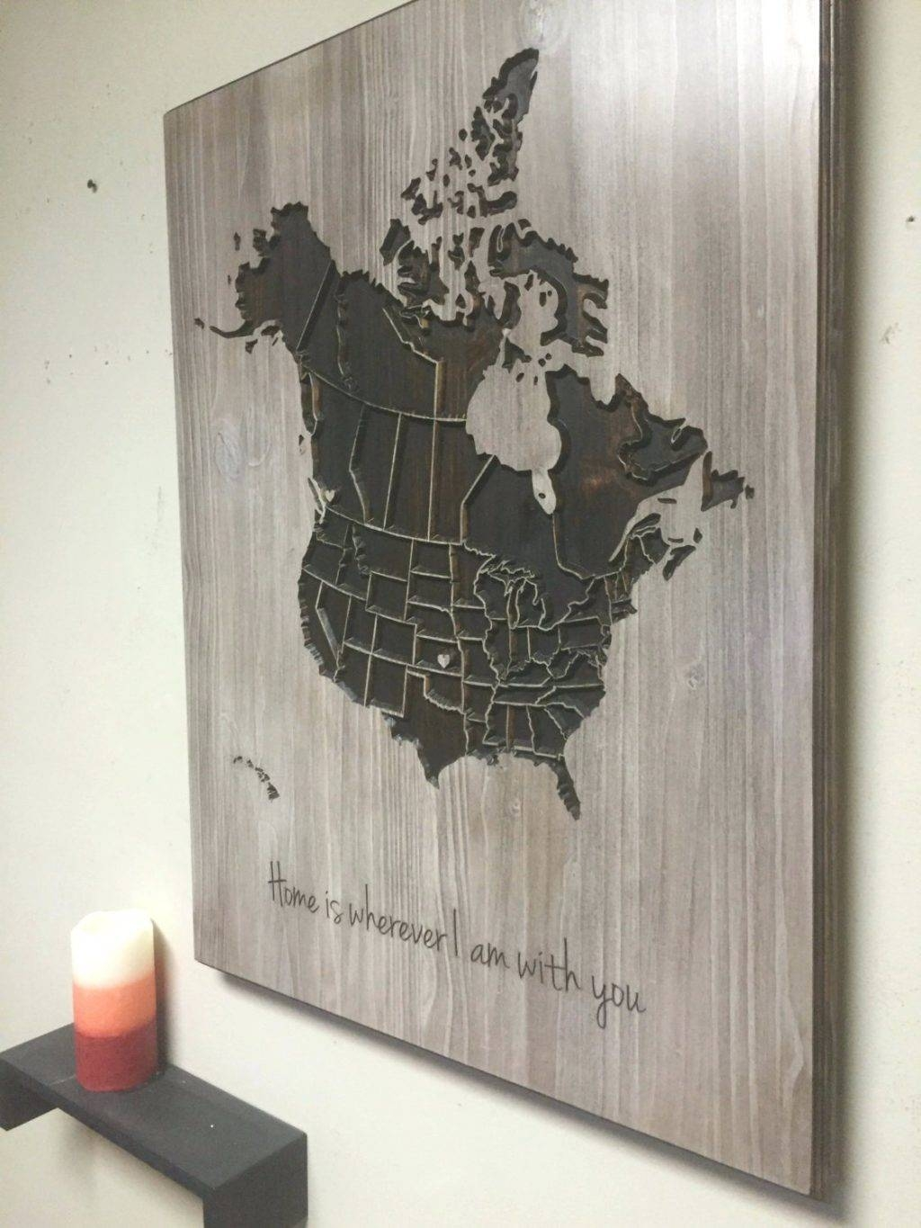 Wall Arts ~ Map Wall Art Etsy Wood Us And Canada Map Wall Art Intended For 2017 Africa Map Wall Art (View 9 of 20)