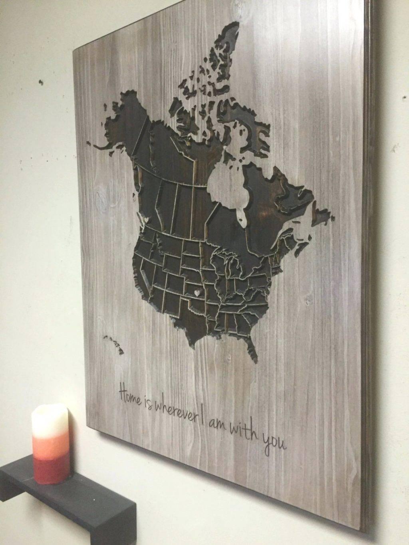 Wall Arts ~ Map Wall Art Etsy Wood Us And Canada Map Wall Art Intended For 2017 Africa Map Wall Art (Gallery 3 of 20)