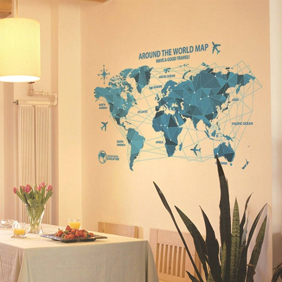 20 Best Ideas of Abstract World Map Wall Art