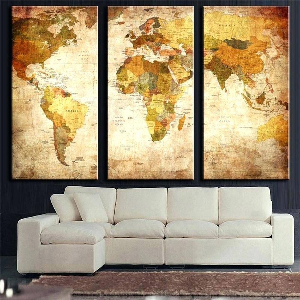 Wall Arts ~ Metal Wall Art Decor Cheap Vintage World Map Hq 3 Throughout Recent 3 Piece Metal Wall Art (View 11 of 20)