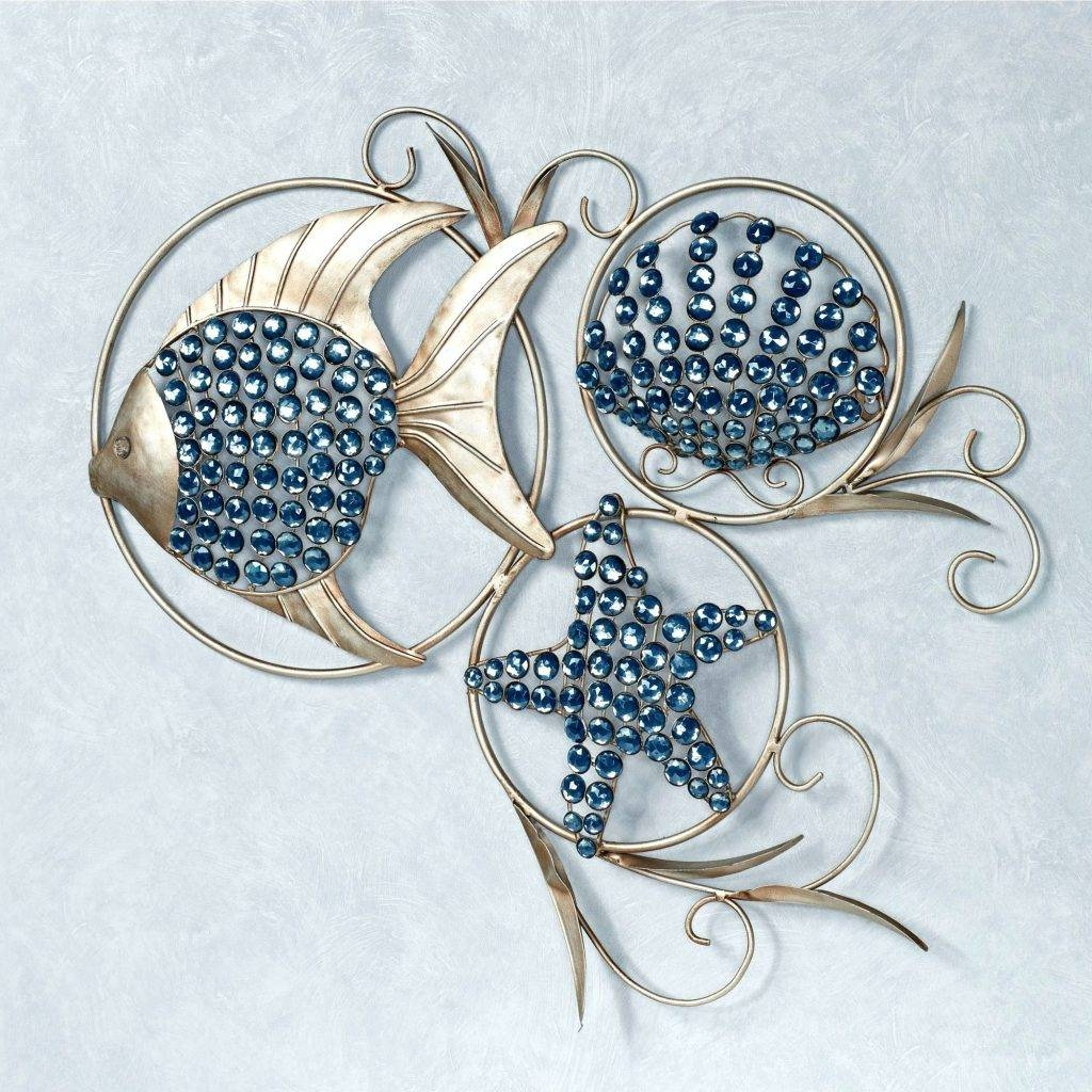 Wall Arts ~ Metal Wall Artwork Ocean Gems Fish And Seashell Metal Pertaining To Most Up To Date Bathroom Metal Wall Art (View 12 of 20)