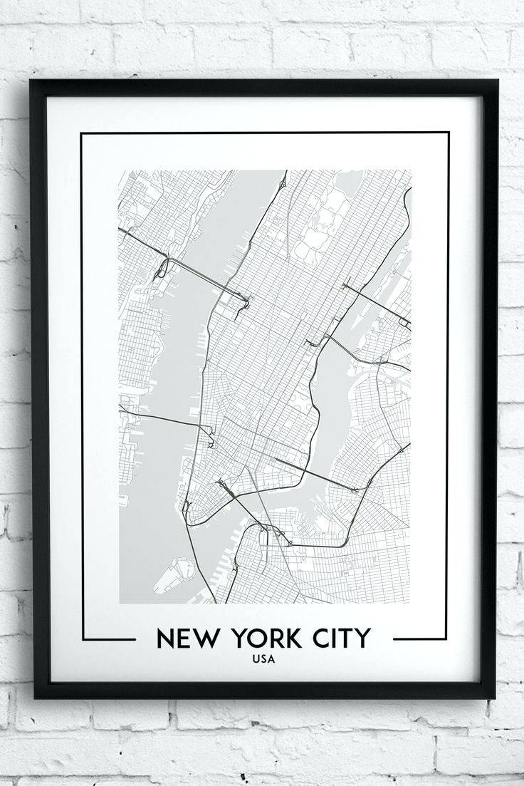 Wall Arts ~ New York City Wall Art Decals New York City Canvas Pertaining To Current New York Map Wall Art (View 3 of 20)