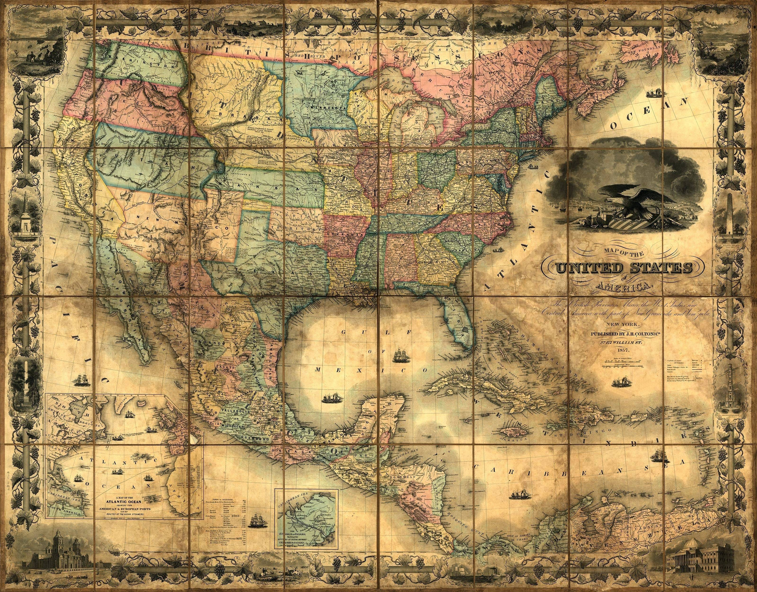 Wall Arts ~ Old World Map Art Canvas Large Vintage Map Wall Art In Latest Old Map Wall Art (View 4 of 20)