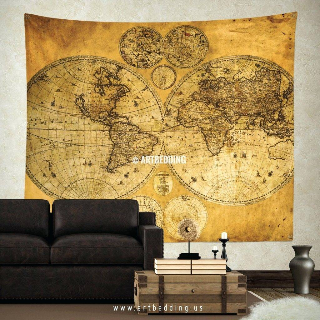 Wall Arts ~ Old World Map Art Canvas Large Vintage Map Wall Art Intended For Most & Showing Gallery of Large Map Wall Art (View 11 of 20 Photos)