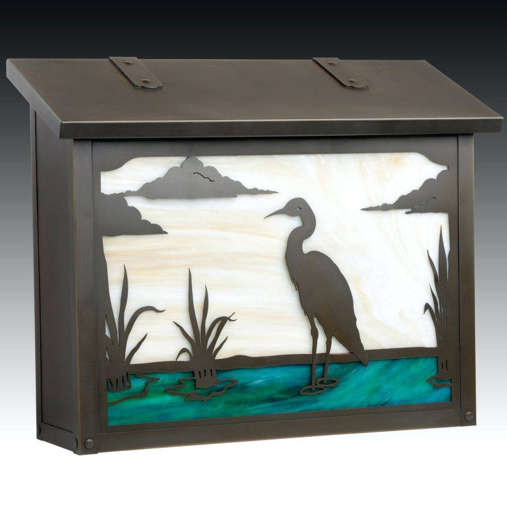 Wall Arts Outdoor Metal Heron Art Wood Blue For Cur