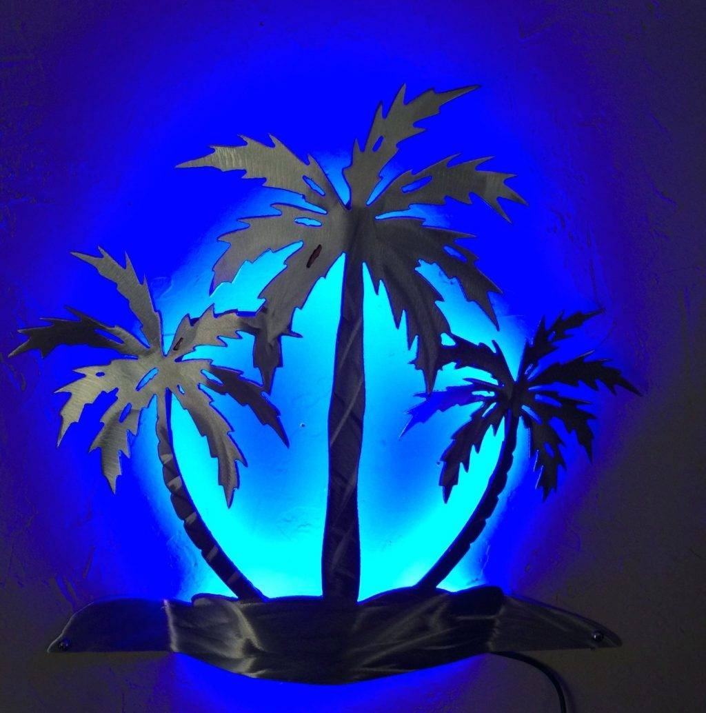 Wall Arts ~ Outdoor Metal Wall Art Palm Tree Palm Tree Wall Sconce Within Newest Metal Wall Art Palm Trees (View 7 of 20)