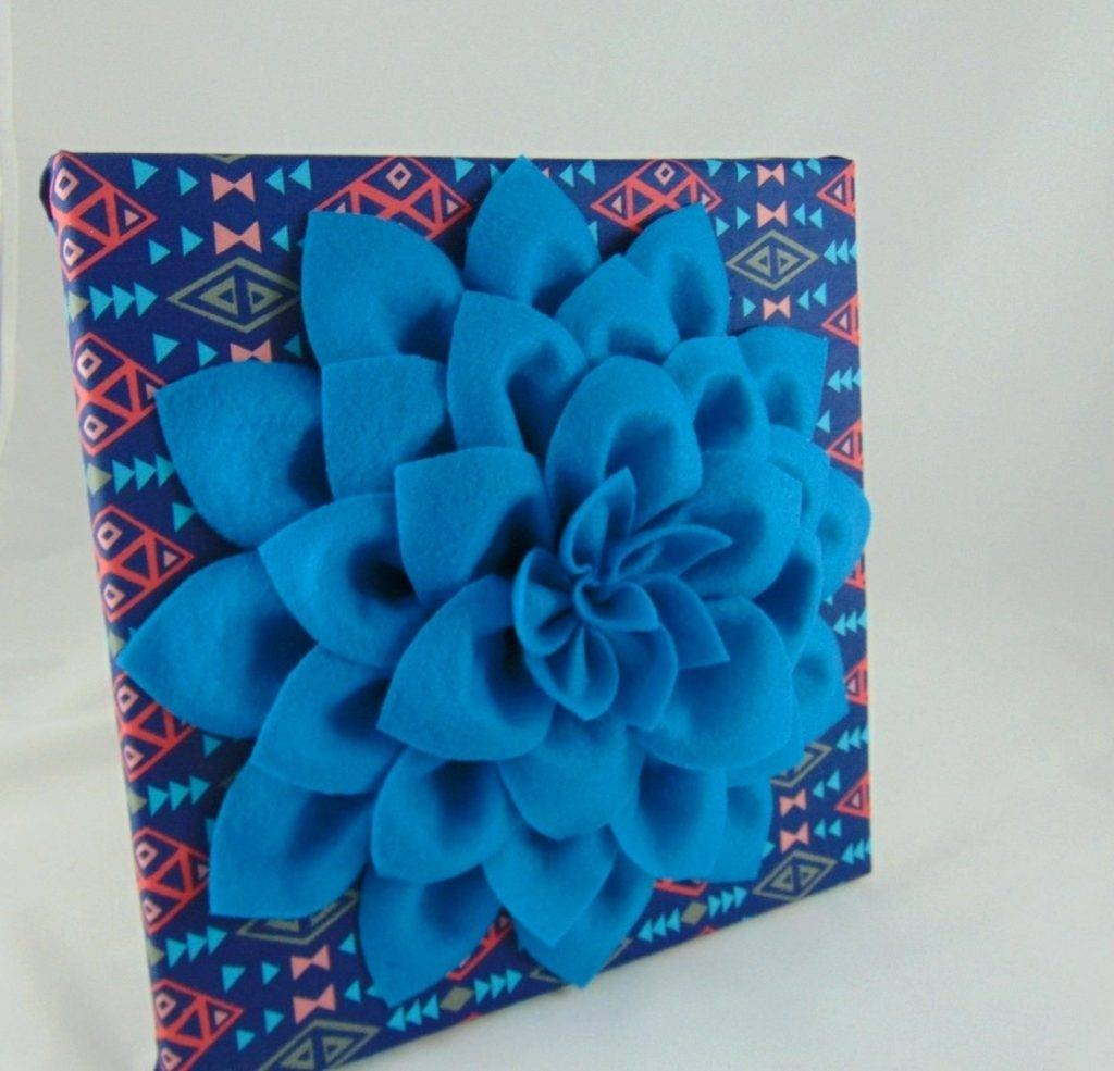 Wall Arts ~ Pink And Blue Flower Wall Art Navy Blue Pink And Intended For 2018 Blue Flower Metal Wall Art (View 4 of 20)