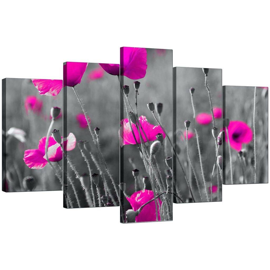 Wall Arts ~ Pink Flower Wall Art Display Gallery Item 4 Five Part In Most Popular Pink Metal Wall Art (View 14 of 20)
