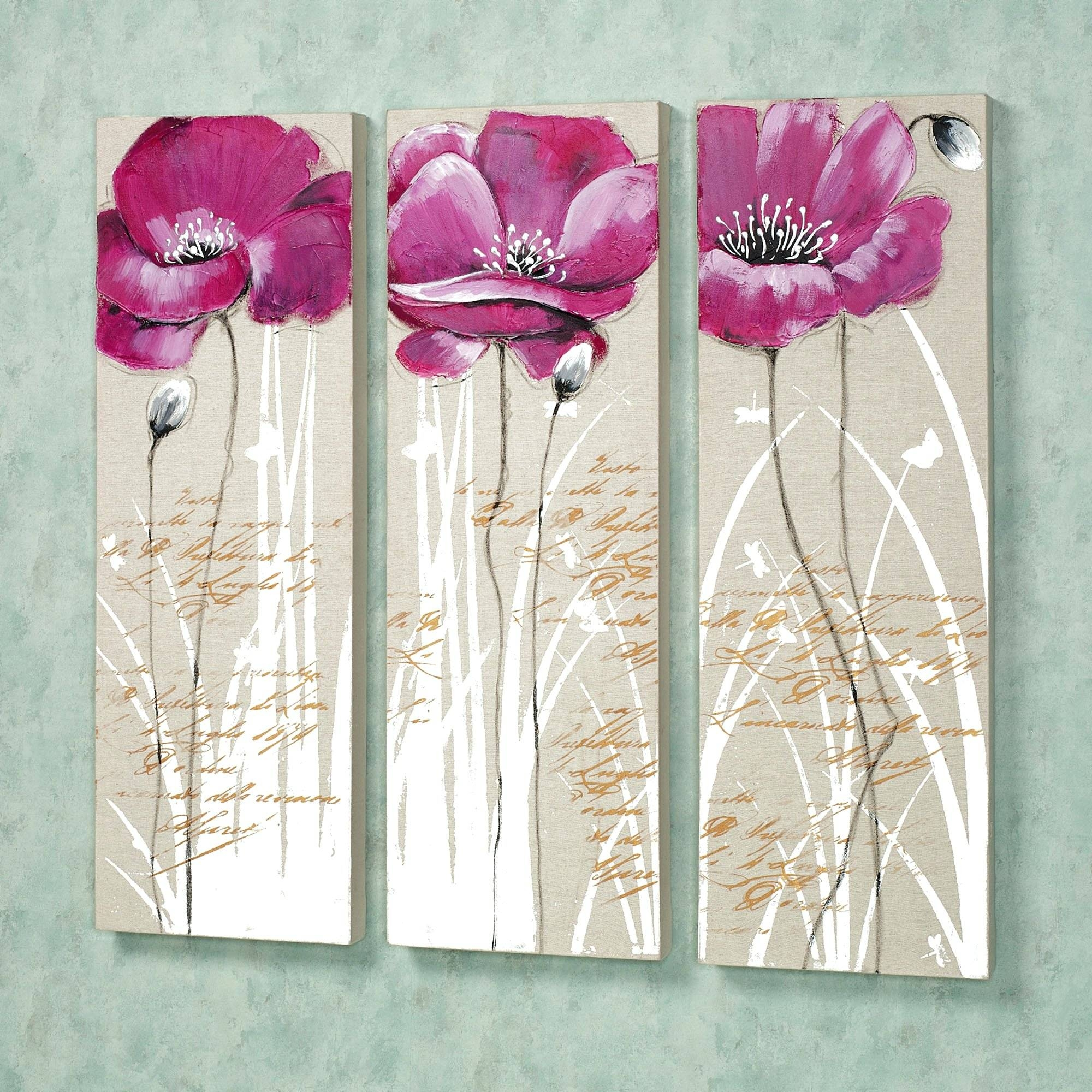 Wall Arts ~ Pink Set Three Floral Wall Art Canvas International Pertaining To Most Recent Pink Metal Wall Art (View 8 of 20)