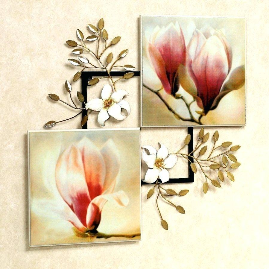 Wall Arts ~ Purple Metal Wall Art Flower Metal Wall Art Flowers In Intended For Newest Silver Metal Wall Art Flowers (View 13 of 20)