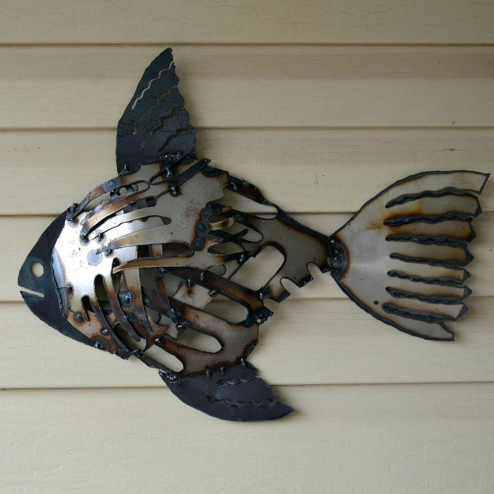 Wall Arts ~ Recycled Metal Fish Wall Art Mosaic Rustic Fish Scrap Throughout Current Beach Metal Wall Art (View 17 of 20)