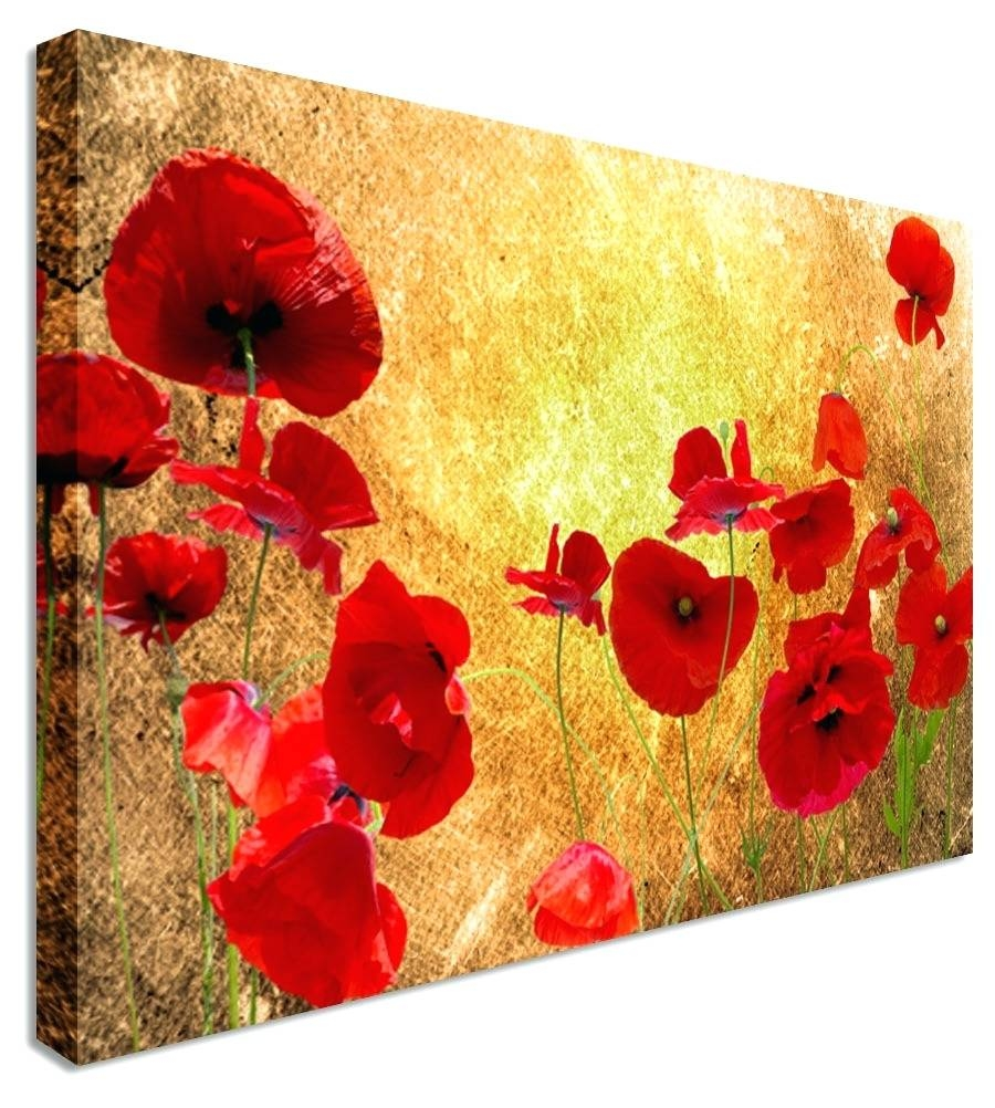 Wall Arts ~ Red Poppies Canvas Wall Art Set Of 3 Red Poppy Canvas Intended For Newest Poppy Metal Wall Art (View 13 of 20)