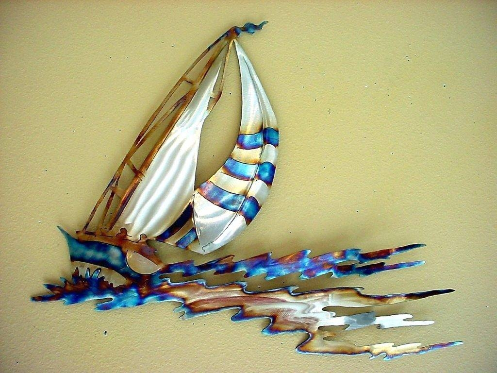 Wall Arts ~ Sailing Boat Metal Wall Art Merrymeeting 3 Piece Pertaining To Most Current Metal Wall Art Boats (View 14 of 20)