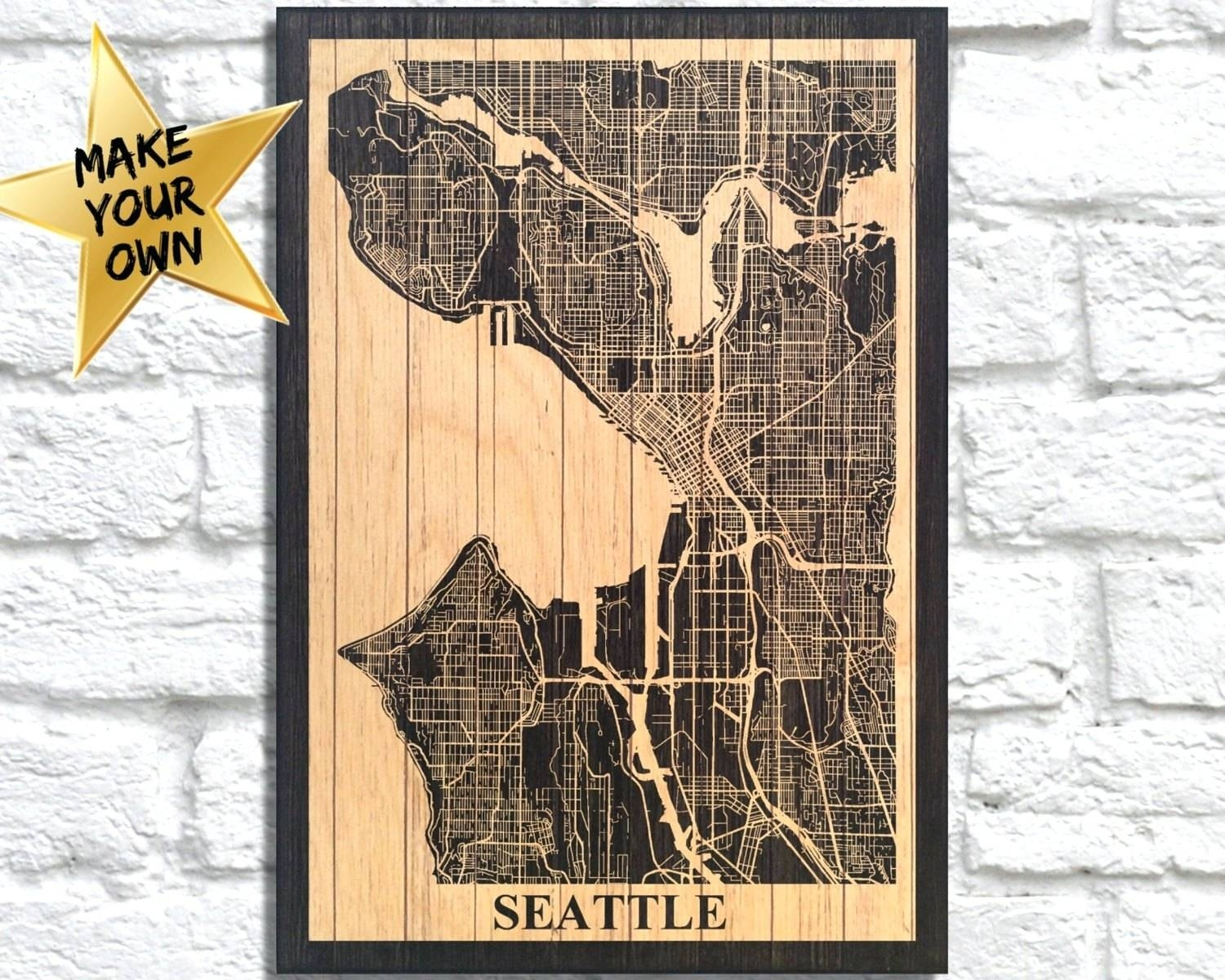 Wall Arts ~ Seattle Wall Art Ikea Metal Wall Art Seattle Gift For Intended For 2018 Street Map Wall Art (View 14 of 20)