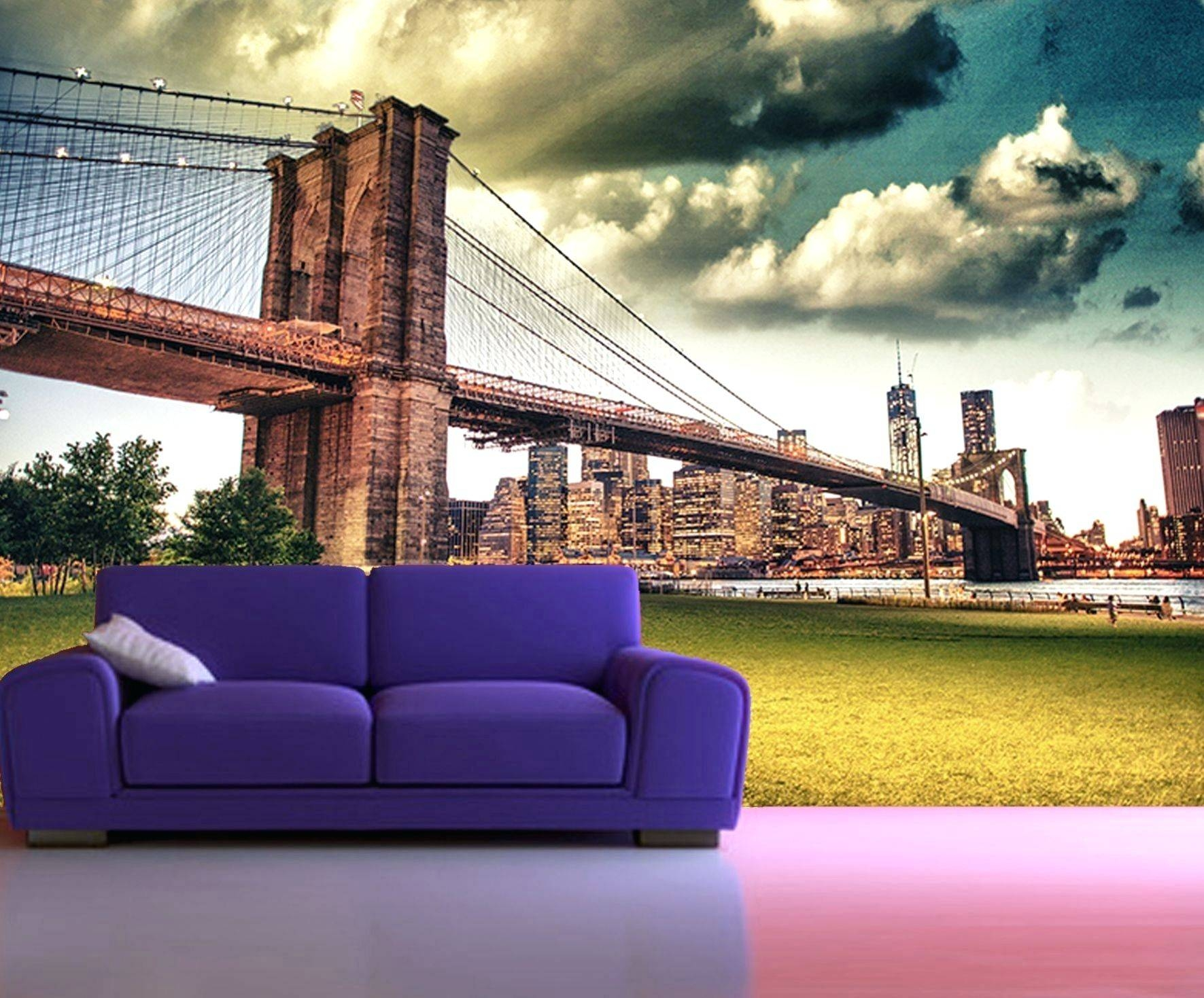 Wall Arts ~ Self Adhesive New York Brooklyn Bridge Decorating Regarding Best And Newest New York Metal Wall Art (View 16 of 20)