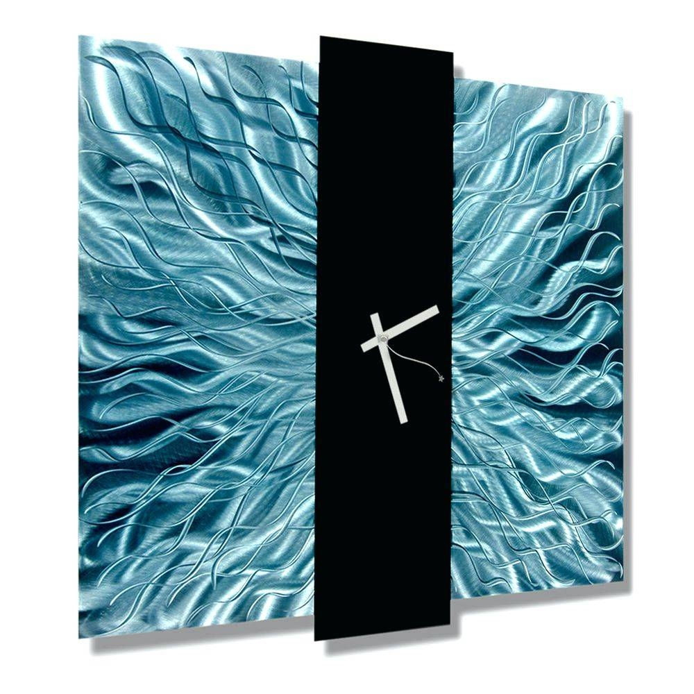 Wall Arts ~ Teal Blue Black Metal Wall Clock Contemporary Metal With Regard To Most Current Turquoise Metal Wall Art (View 11 of 20)