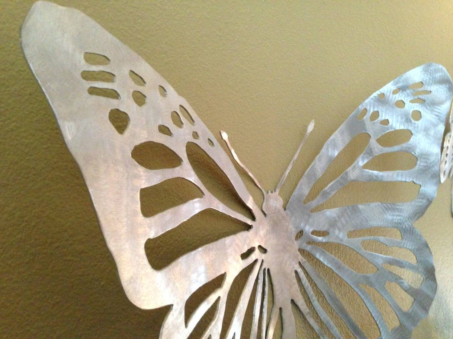 Wall Arts ~ Trailing Butterflies Metal Wall Art 3D Butterfly Metal Throughout Most Up To Date Butterfly Metal Wall Art (View 20 of 20)