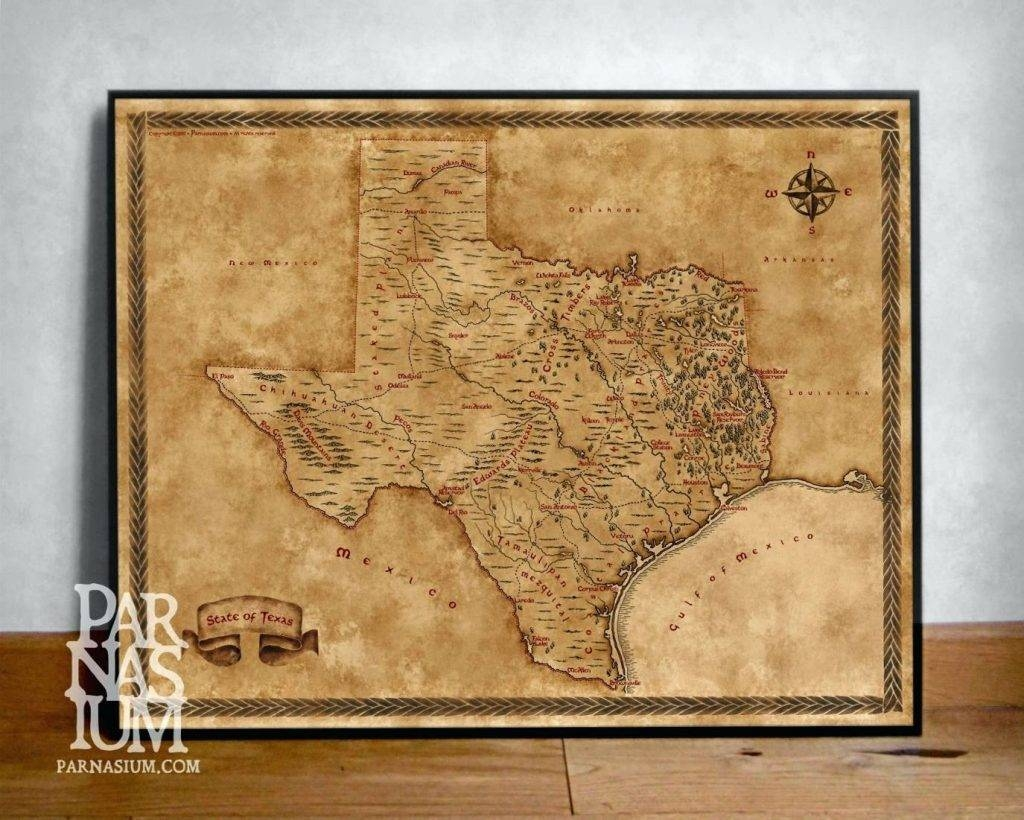 Wall Arts ~ Vintage London Map Wall Art Old World Map Art Canvas In Best And Newest Texas Map Wall Art (View 19 of 20)