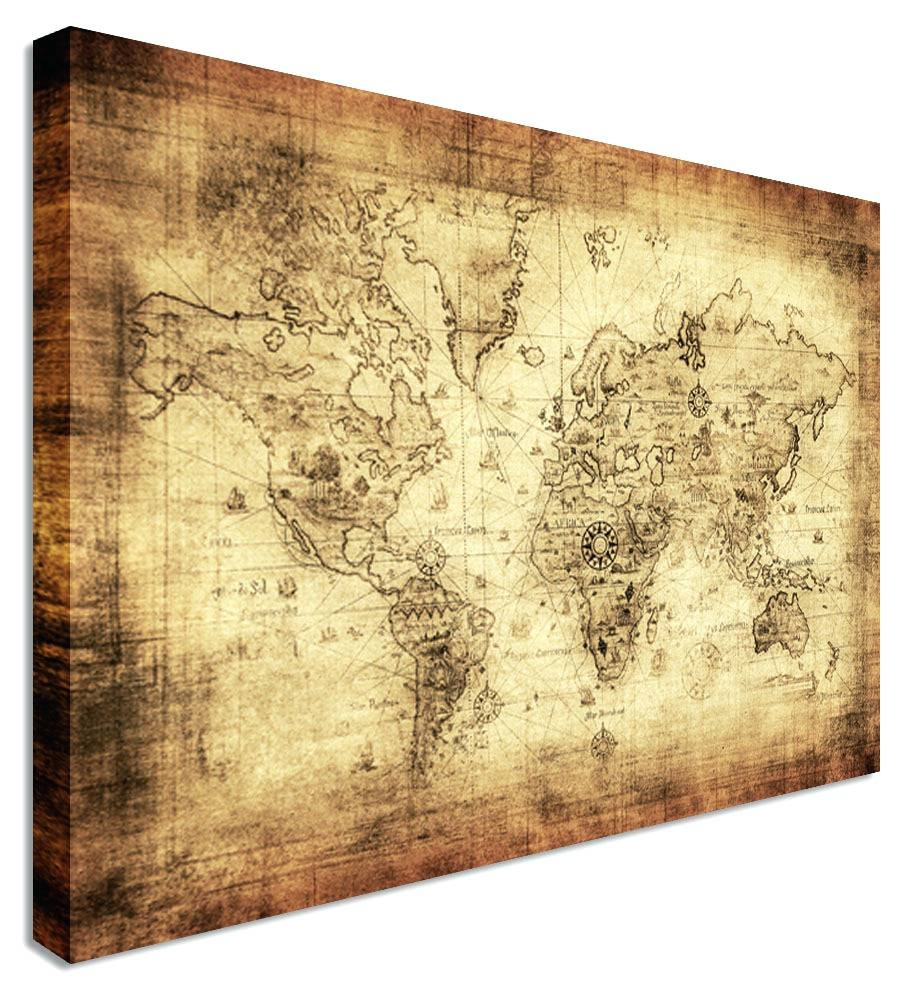 Wall Arts ~ Vintage London Map Wall Art Old World Map Art Canvas With Most Popular World Map Wall Artwork (View 13 of 20)