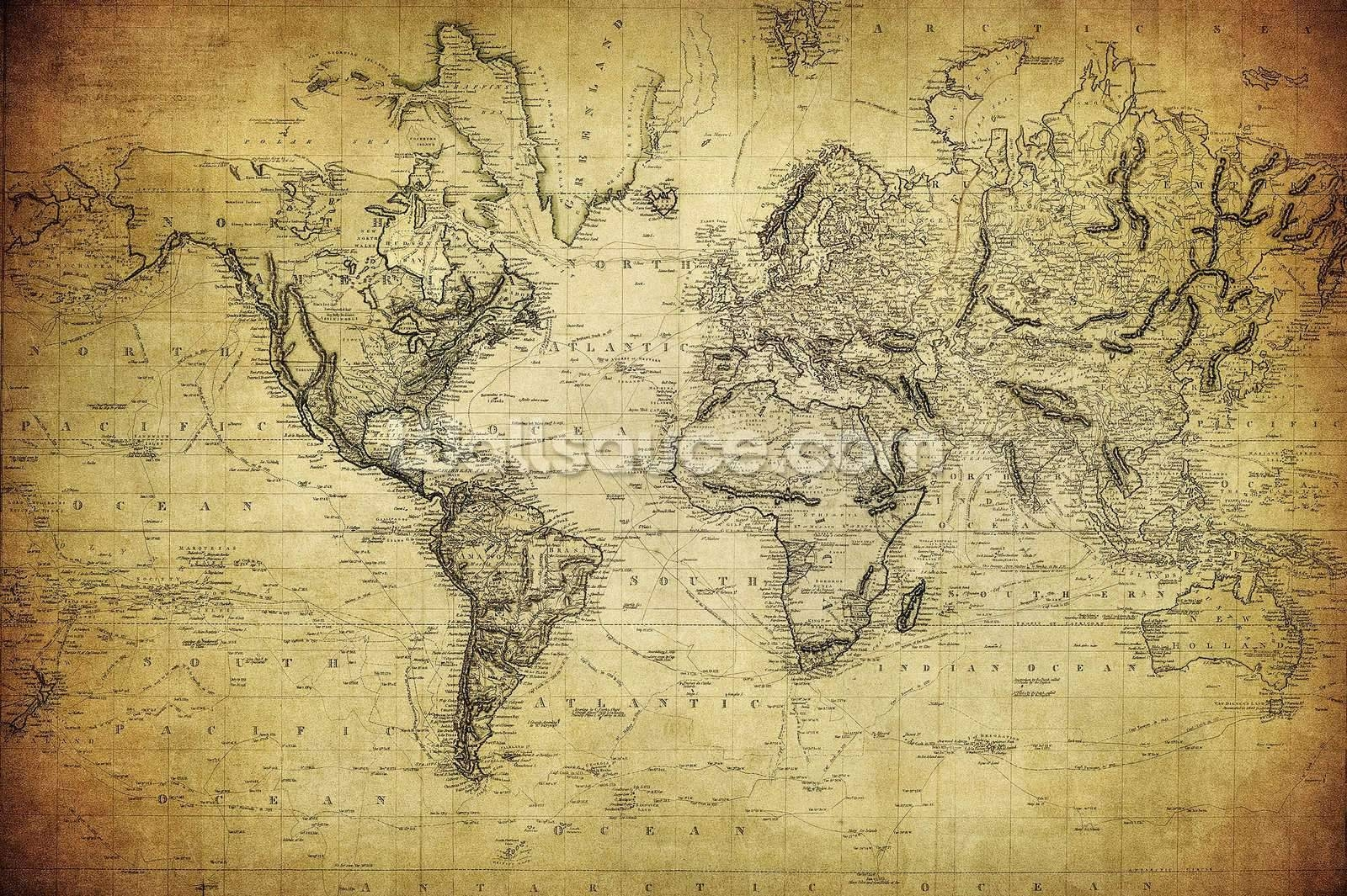 Wall Arts: Vintage Maps Wall Art. Large Vintage Map Wall Art (View 20 of 20)