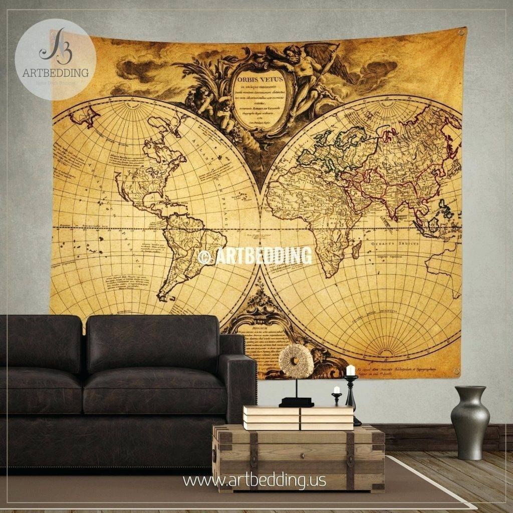 Wall Arts ~ Vintage Maps Wall Art Old World Map Wall Art In Blue In Latest Vintage World Map Wall Art (View 7 of 20)