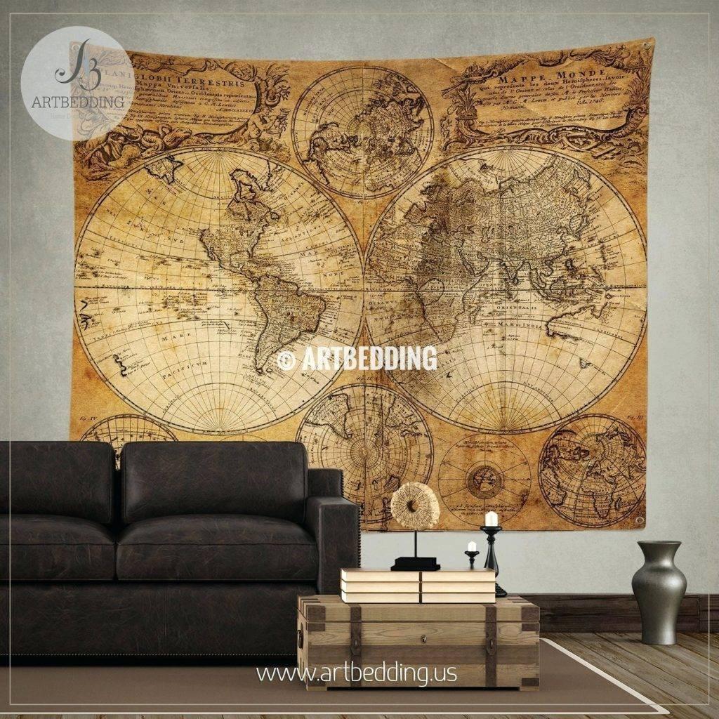 Wall Arts ~ Vintage World Map Artwork Vintage Maps Wall Art Zoom Inside Most Recently Released World Map Wall Artwork (View 15 of 20)