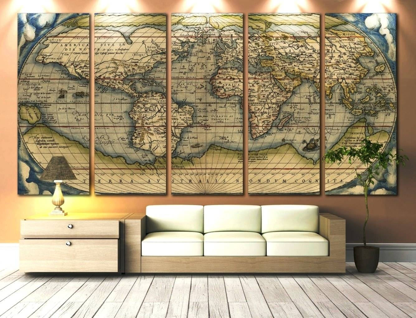 Wall Arts ~ Vintage World Map Wall Art Large Wall Art World Map For Current Map Wall Artwork (View 6 of 20)