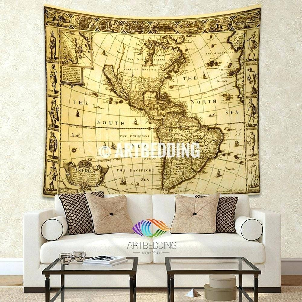 Wall Arts ~ Vintage World Map Wall Tapestry America Vintage World Intended For Newest Vintage World Map Wall Art (View 11 of 20)