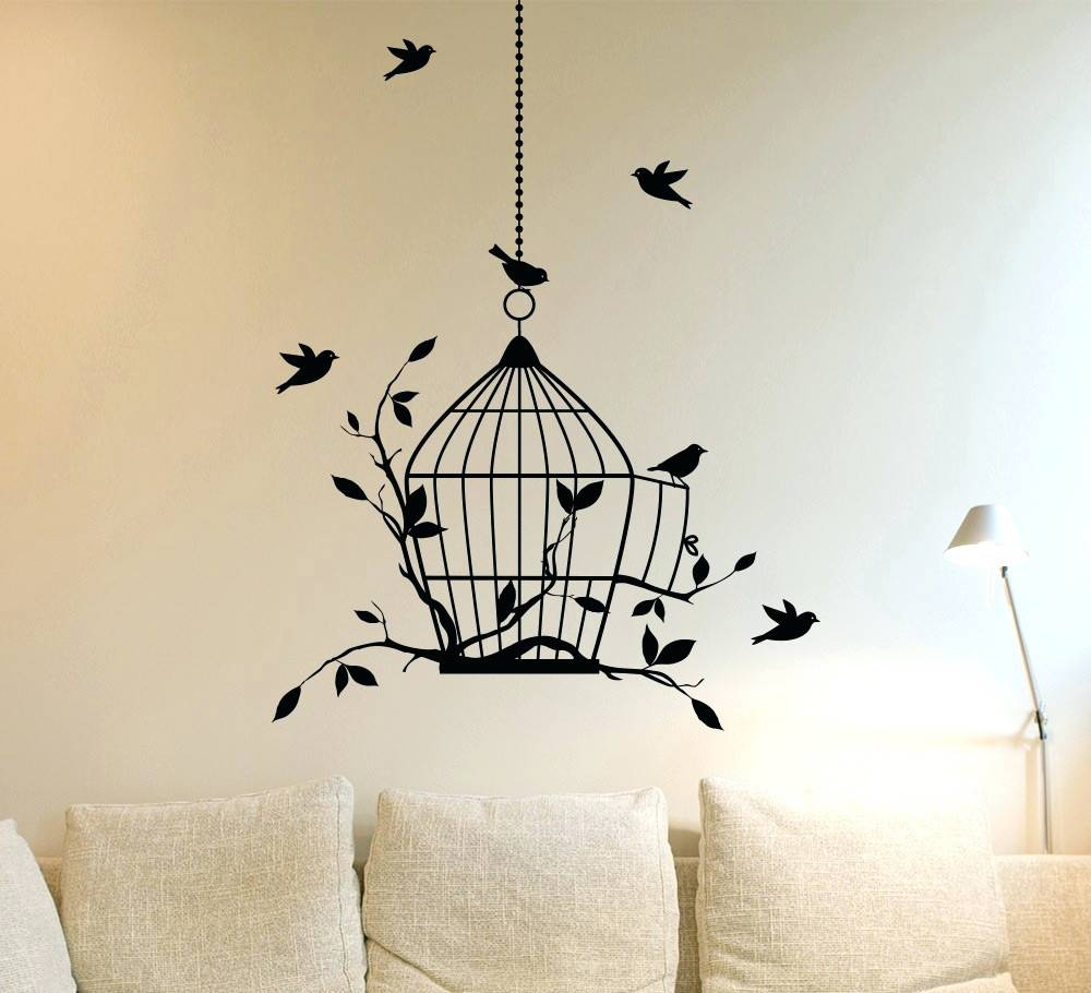 Wall Arts ~ Wall Art Birds Birdcage And Birds Wall Art Vinyls Wall Within 2017 Birdcage Metal Wall Art (View 16 of 20)