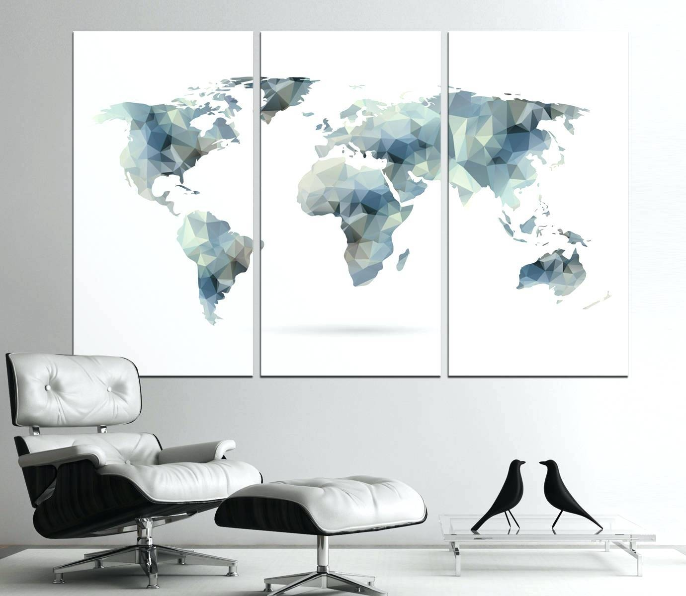 Wall Arts ~ Wall Art For Home Office Large Geometric World Map Intended For Newest World Map Wall Art (Gallery 8 of 20)