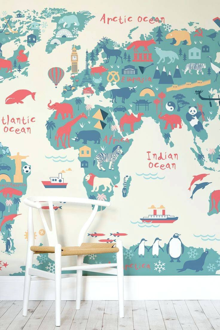Wall Arts ~ Wall Art Stickers For Childrens Bedroom Wall Art Within Recent Kids World Map Wall Art (View 14 of 20)