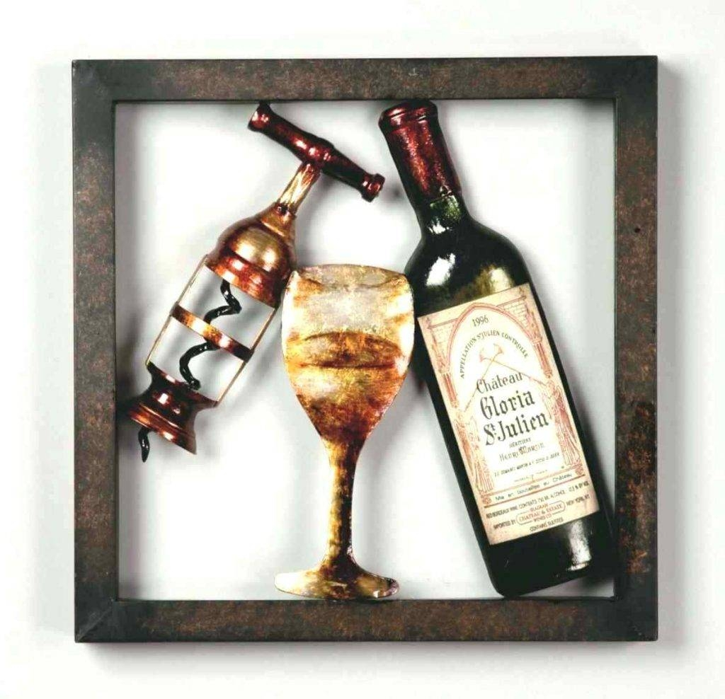 Wall Arts ~ Wine Bottles Metal Wine Glass Wall Art Cork Diy Best Intended For 2017 Wine Bottle Metal Wall Art (View 17 of 20)