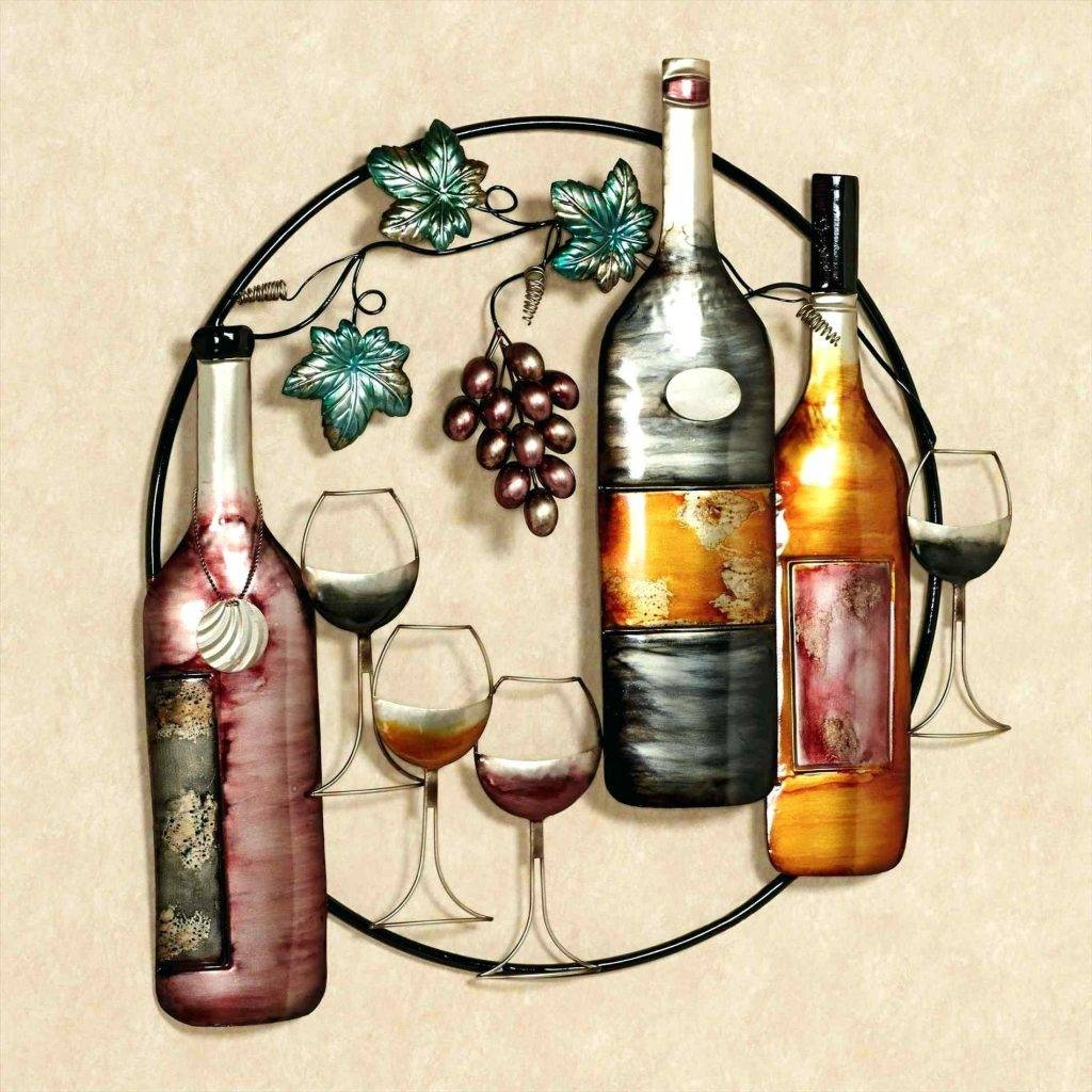 Wall Arts ~ Wine Bottles Wine Art Amazon Glass Canada Kitchen Throughout Most Popular Wine Bottle Metal Wall Art (View 18 of 20)