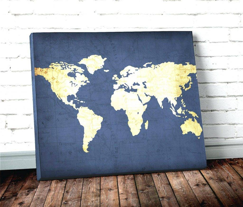 Wall Arts ~ World Map Wall Art Framed Navy Blue World Map Best Throughout Most Recently Released World Map Wall Art Framed (View 12 of 20)