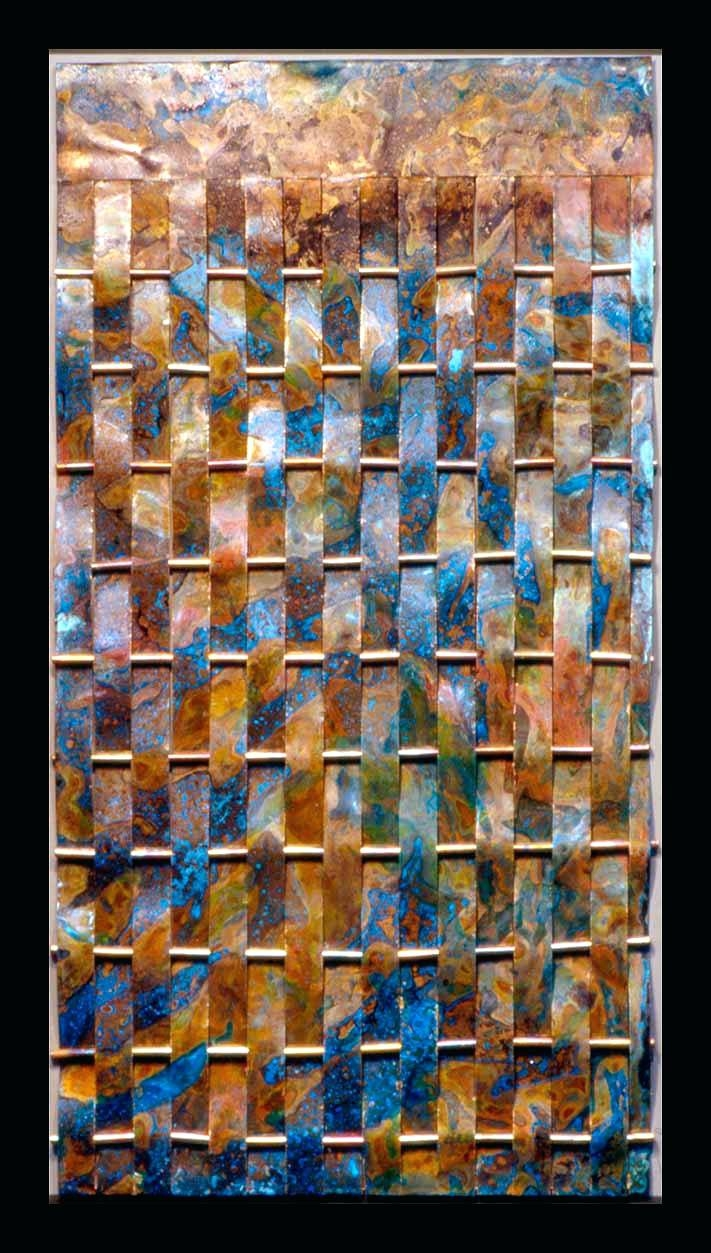 Wall Arts ~ Woven Copper Metal With Blue Patina Searles Art Throughout Most Recently Released Woven Metal Wall Art (View 15 of 20)