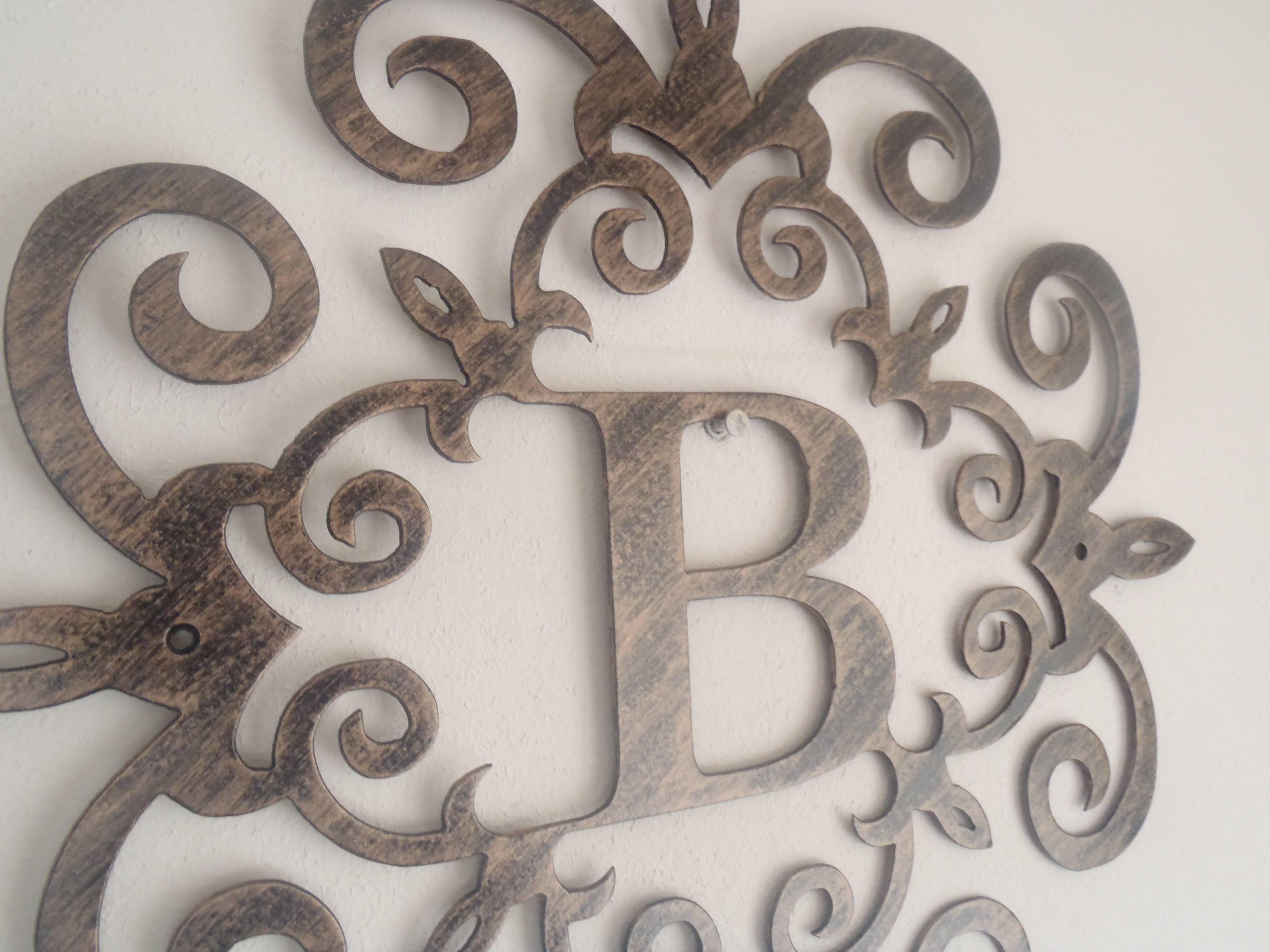 Wall Decor: Initial Letter B Wall Decor Ideas For Home Decor Metal Inside Most Recent Monogram Metal Wall Art (View 8 of 20)