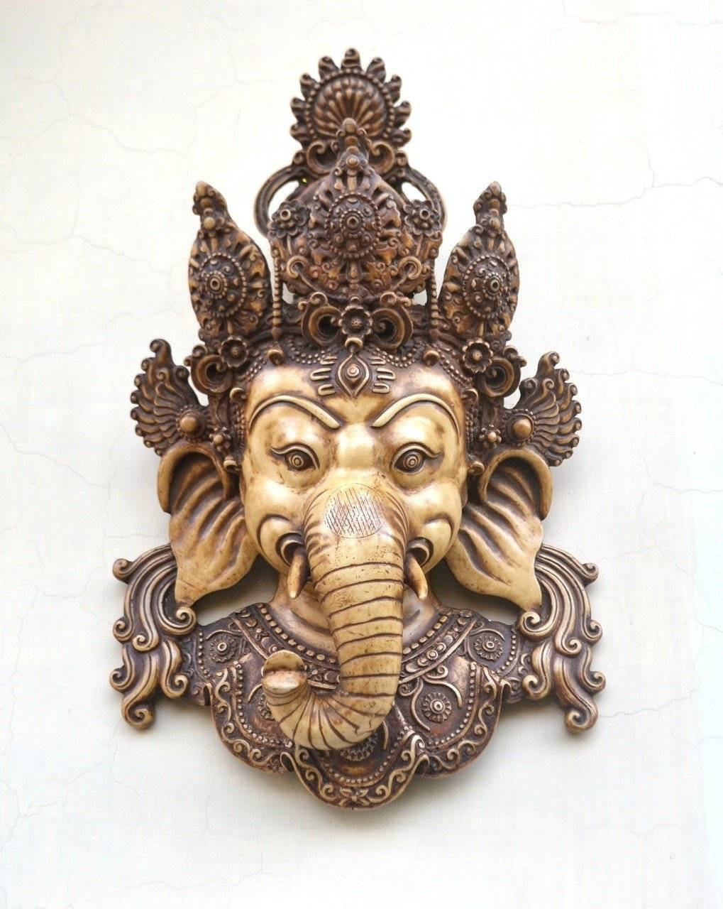 Wall Hanging Mask Decor Indian Wall Sculpture Art Vintage Creation Intended For Best And Newest Indian Metal Wall Art (View 18 of 20)