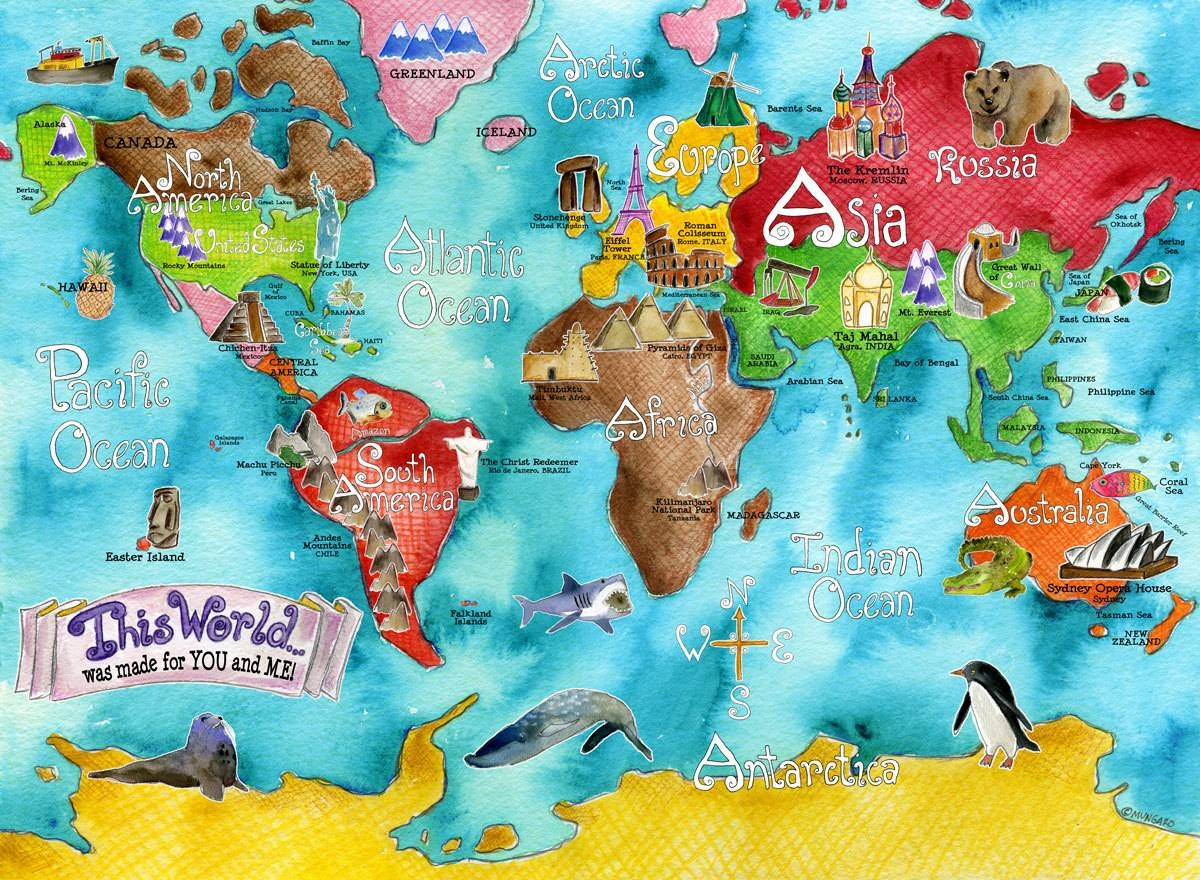 Wall Maps Of The World Christopher Wesson At Childrens Map Of The For Best And Newest Kids World Map Wall Art (View 15 of 20)