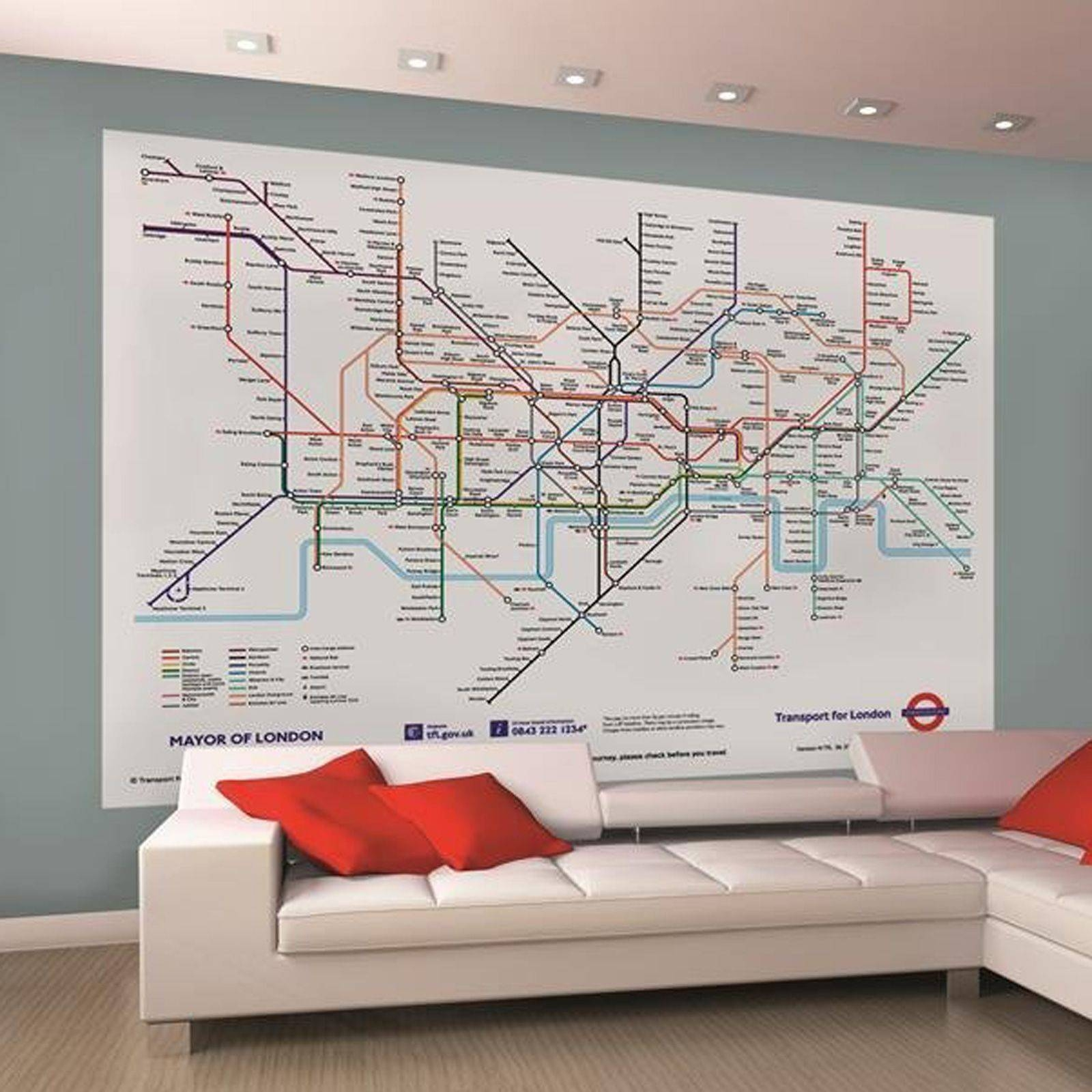 Wall Murals Room Decor Large Photo Wallpaper Various Sizes | Ebay Pertaining To Recent London Tube Map Wall Art (View 3 of 20)