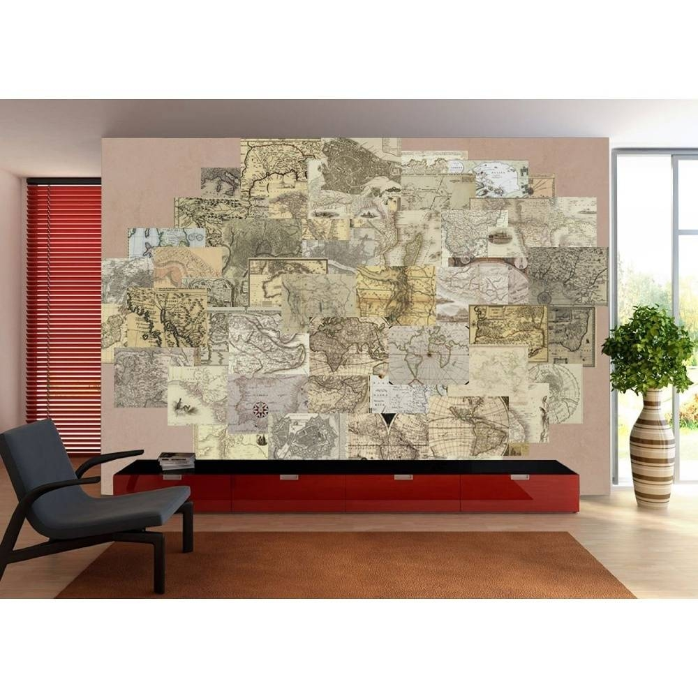 Wall Vintage Old Maps 64 Piece Creative Collage Wall Art Regarding Best And Newest Old Map Wall Art (View 16 of 20)