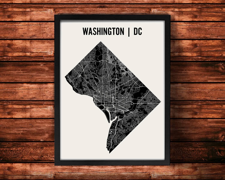 Washington Dc Map Art Print Washington Dc Print Washington Intended For Recent San Diego Map Wall Art (View 5 of 20)