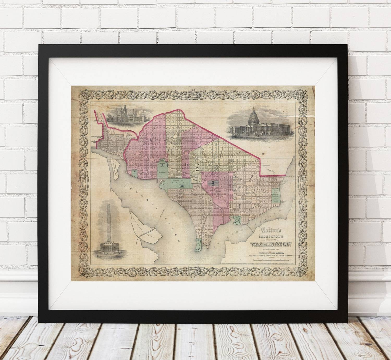 Washington Dc Map Print, Vintage Map Art, Antique Map, Office Wall Inside Latest Washington Dc Map Wall Art (View 3 of 20)