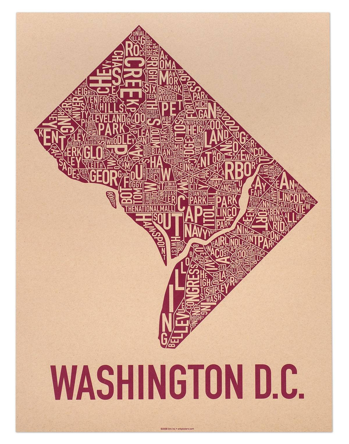 "Washington Dc Neighborhood Map 18"" X 24"" Crackberry Screenprint For Most Recently Released Washington Dc Map Wall Art (View 15 of 20)"