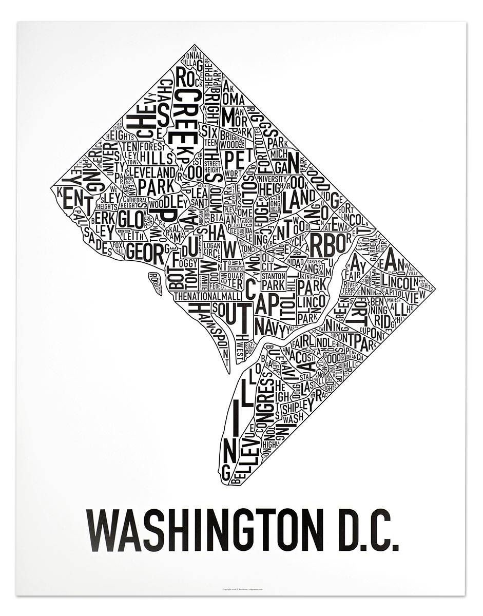 "Washington Dc Neighborhood Map 22"" X 28"" Classic Black & White Poster Pertaining To 2017 Chicago Neighborhood Map Wall Art (View 19 of 20)"