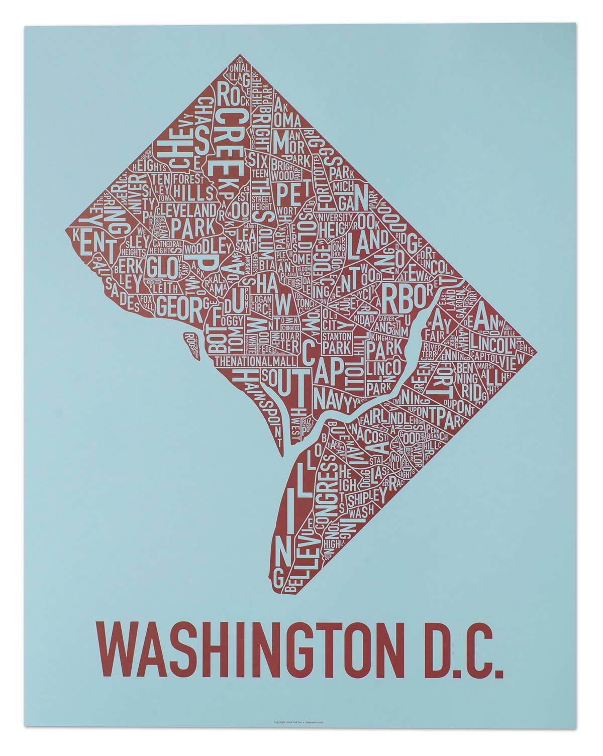 Washington Dc Neighborhood Map Posters & Prints – Modern Wall Decor For Latest Washington Dc Map Wall Art (View 17 of 20)