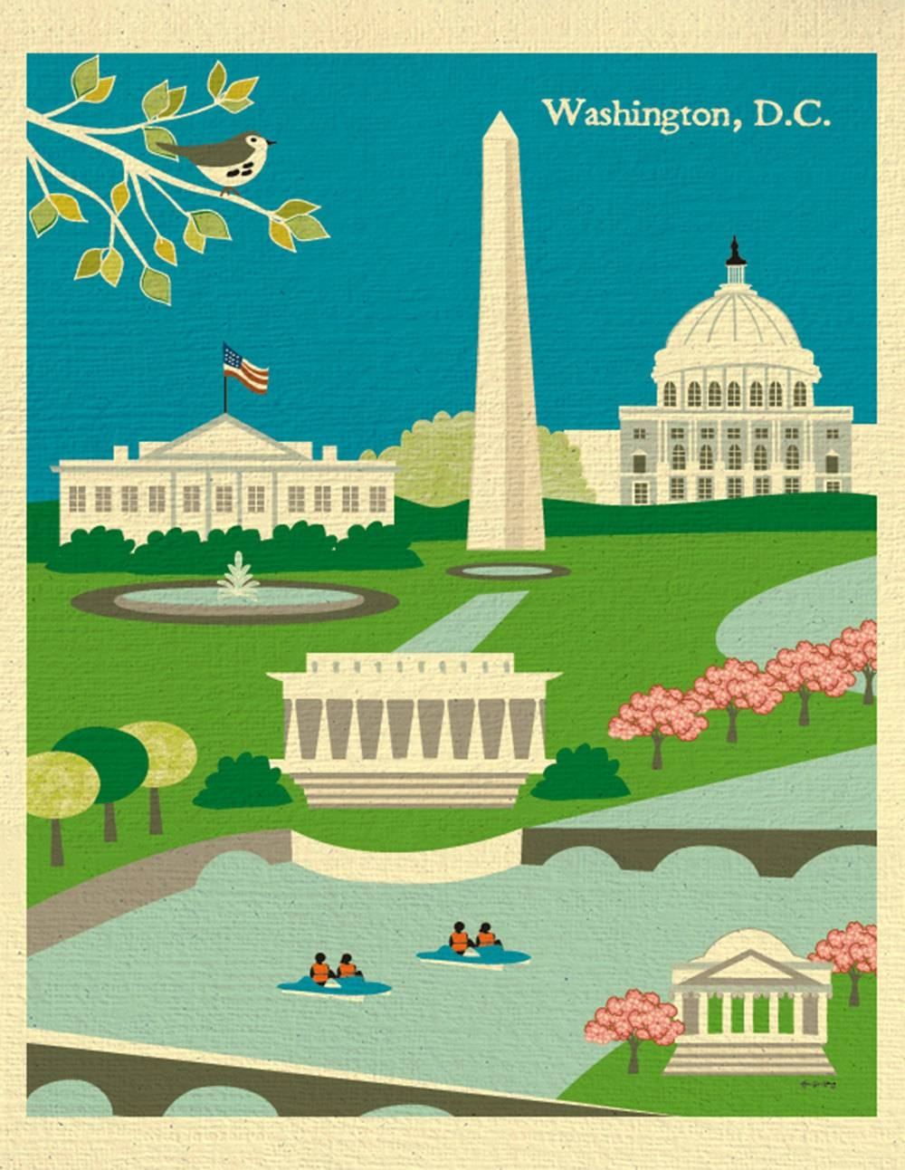 Washington Dc Skyline Art Print Dc Map Dc Wall Art Dc Within Recent Washington Dc Map Wall Art (View 19 of 20)