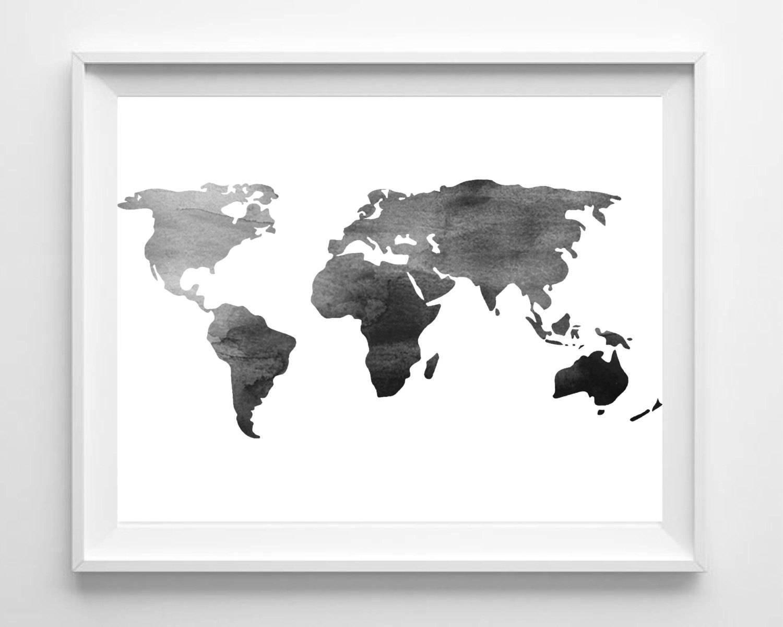 Watercolor World Map Print Printable Black White Wall Art Pertaining To 2018 World Map Wall Art Print (View 18 of 20)