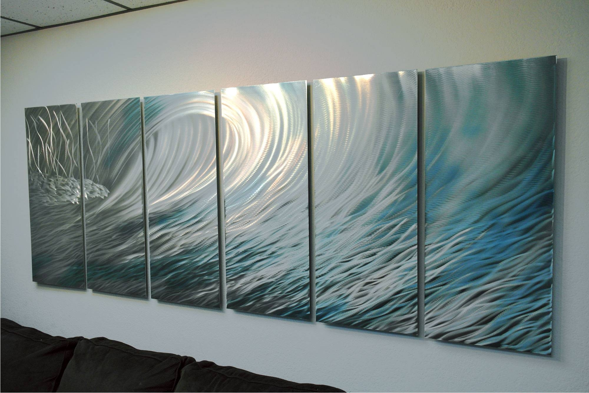 Wave 36X96 – Abstract Metal Wall Art Contemporary Modern Decor With 2017 Teal Metal Wall Art (View 20 of 20)