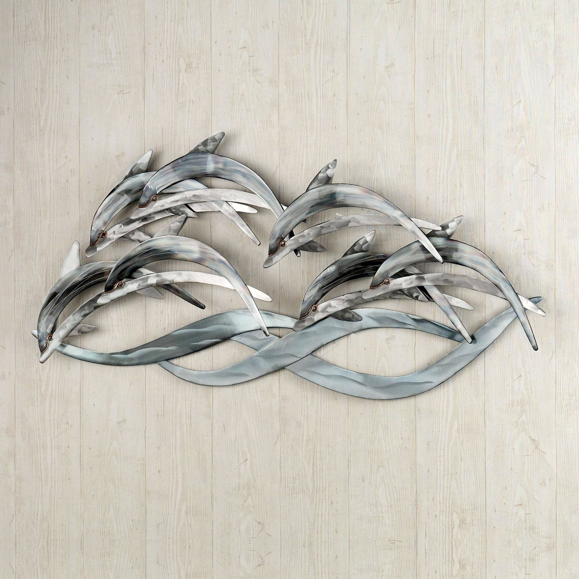 Wave Dancers Dolphin Stainless Steel Wall Sculpture With Regard To Most Current Animal Metal Wall Art (View 19 of 20)