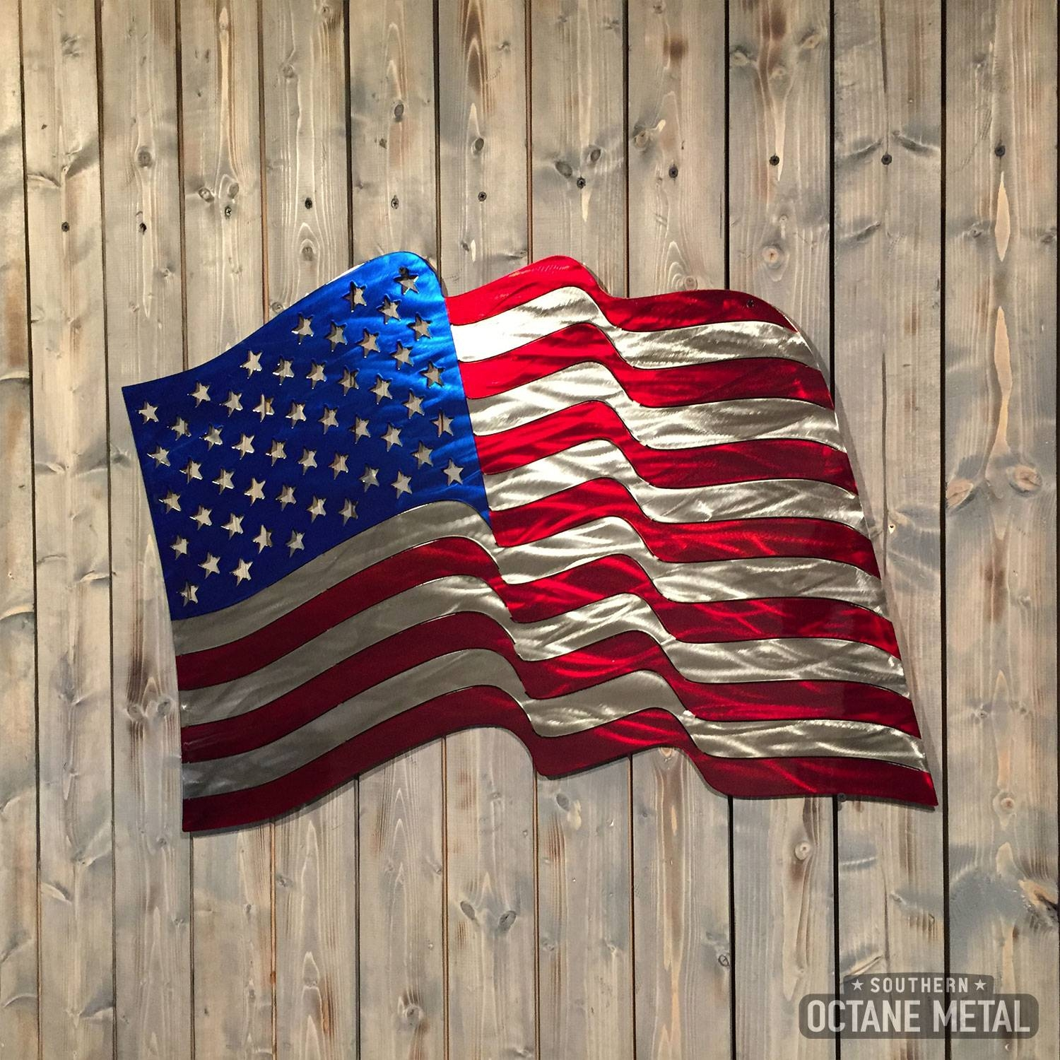 Waving American Flag Metal Art – Southern Octane Metal Inside Most Current American Flag Metal Wall Art (View 10 of 20)